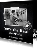 Save the Date eigen foto krijtbord