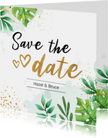 Save the date kaart botanisch goud