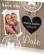 Save the Date kaart foto houtlook