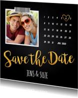 Save the Date kaart foto kalender krijtbord