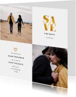 Save the date kaart gouden accenten met foto's vierkant