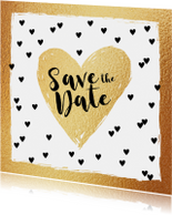 Save the Date kaart hartjes goud en zwartwit