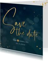 Save the date kaart met bokeh achtergrond