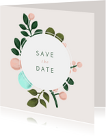Save the date kaart met geschilderde takken en kader