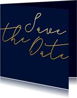 Save the date kaart met gouden tekst vierkant