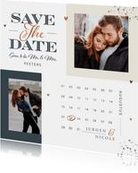 Save the date kaart met kalender grafisch modern foto