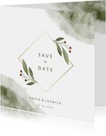 Save the date kaart met waterverf en botanisch gouden kader