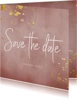 Save the date kaart oud roze waterverf gouden spetters