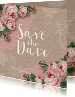 Save the date kaart rozen kraftlook stijlvol