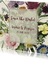 Save the date kaart stijlvol  met vintage bloemen