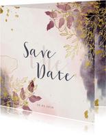 Save the Date kaart stijlvol met waterverf en gouden bloemen