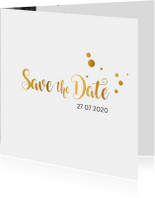 Trouwkaarten - Save the date kaart trouwen goud serie