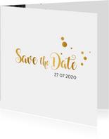 Save the date kaart trouwen goud serie