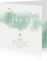 Save the date kaart 'YES' met waterverf en gouden hartjes