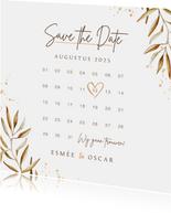 Save the date kalender uitnodigingskaart goud takje