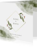 Save-the-Date-Karte Aquarell & Zweige