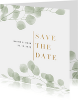 Save-the-Date-Karte eleganter Eukalyptus Foto innen