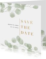 Save-the-Date-Karte eleganter Eukalyptus Foto innen