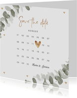 Save-the-Date-Karte Eukalyptusblatt Kalender