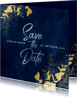 Save-the-Date-Karte Hochzeit Eukalyptus Goldlook