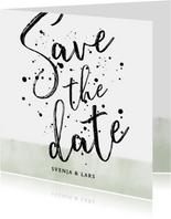 Save-the-Date-Karte Hochzeit mit Foto und schwarzen Punkten