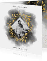 Save-the-Date-Karte Hochzeit mit Foto und Wasserfarben