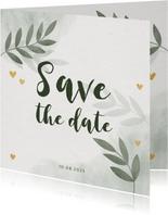 Save-the-Date-Karte Hochzeit mit Foto, Zweigen und Herzen