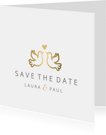 Save-the-Date-Karte Hochzeit mit goldenen Tauben und Herz