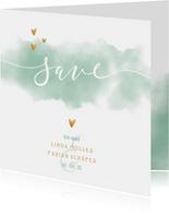 Save-the-Date-Karte Hochzeit mit Wasserfarbe und Herzen