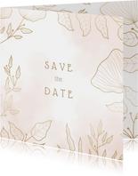 Save-the-Date-Karte Hochzeit rosa mit eleganten Blumen