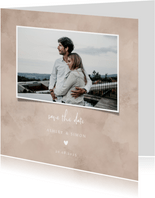 Save-the-Date-Karte zur Hochzeit altrosa Aquarell