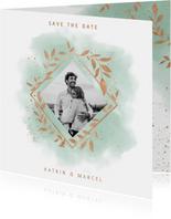Save-the-Date-Karte zur Hochzeit Aquarell mintgrün mit Foto