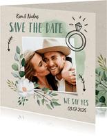 Save-the-Date-Karte zur Hochzeit Blumen & Doodles mit Foto
