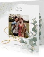 Save-the-Date-Karte zur Hochzeit Eukalyptus & Foto