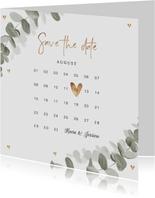 Save-the-Date-Karte zur Hochzeit Eukalyptusblatt Kalender