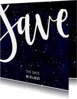 Save-the-Date-Karte zur Hochzeit im Galaxy Design