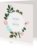 Save-the-Date-Karte zur Hochzeit mit Blumenkranz