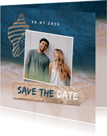 Save-the-Date-Karte zur Hochzeit Strandsommer