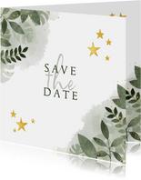 Save the date kerstkaart botanische print en gouden sterren