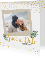 Save the date kerstkaart met goud