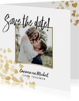 Save the date stijlvolle kaart gouden hartjes en foto