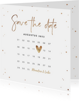 Save the date uitnodiging stijlvol goudlook confetti