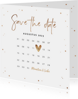 Save the date uitnodiging stijlvol goudlook confetti
