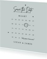 Save the date uitnodiging trouwkaart stijlvol kalender