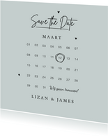 Save the date uitnodiging trouwkaart stijlvol kalender
