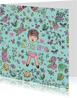 Schattige kleurrijke paper hug kaart