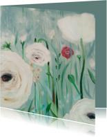 schilderij bloemen in mist
