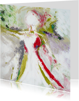 Schilderij vrouw in wijde wereld