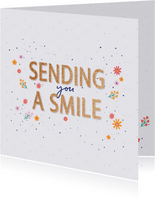 Sending you a smile - flowers and dots - zomaar kaart