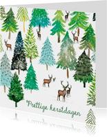 Sfeervolle kerstkaart met winter illustratie